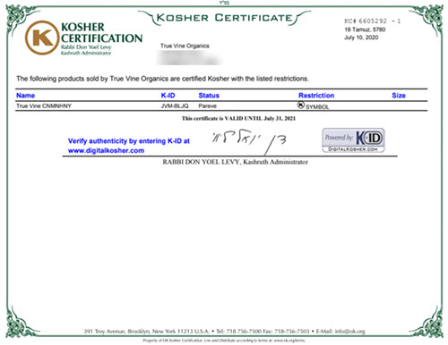 kosher certification true vine organics